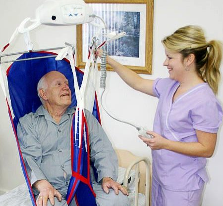 A nurse using a lift to position a patient